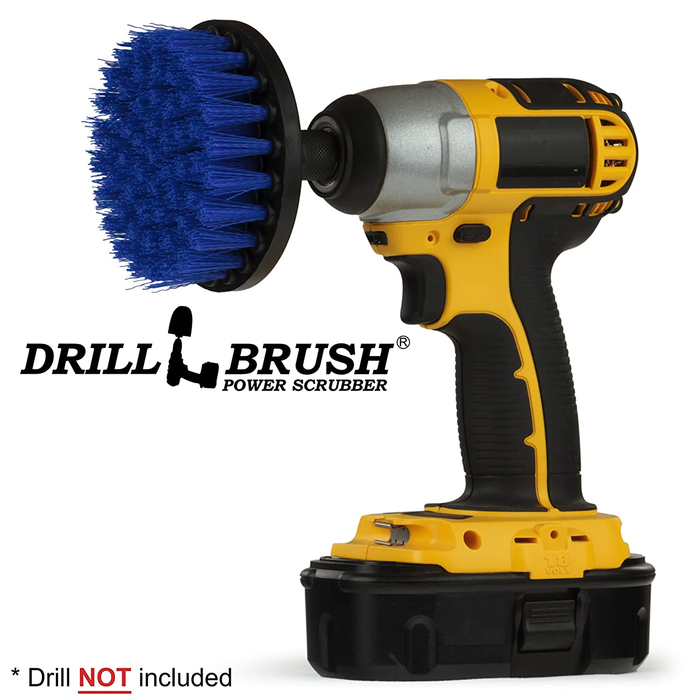 Boat Accessories - Marine - Drill Brush - 4 Inch Diameter Boat Brush - Yacht - Sail - Kayak - Canoe - Jet Ski - Pontoon - Deck Brush - Carpet Cleaner - Fiberglass - Gel Coat - Aluminum - Spin Brush