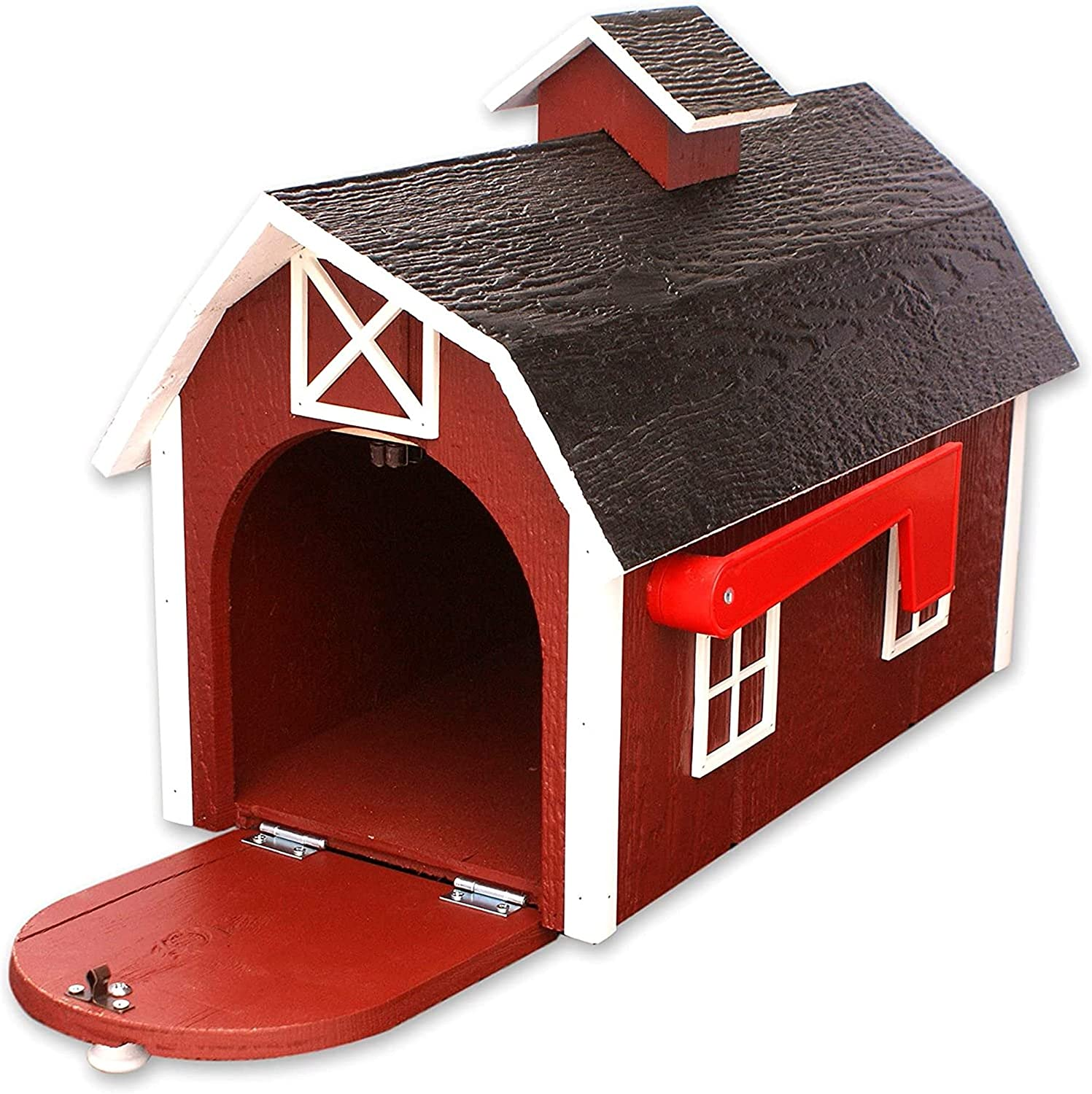 Deluxe store Wooden Mailbox Dutch Barn with favorite Style Red White Trim