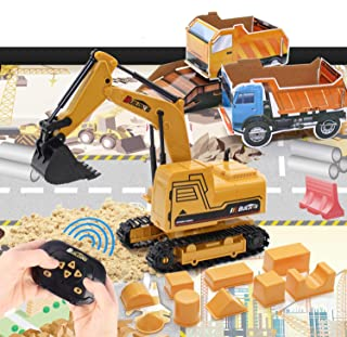 Tractor Sand Play Set, Remote Control Excavator Toy RC Construction Vehicles Hydraulic Excavators 1.1lbs Play Sand Molds P...