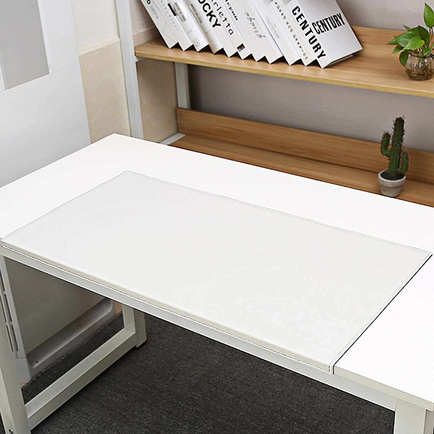 Non-Slip Soft Leather Surface Office Desk Mouse Mat Pad with Full Grip Fixation Lip Table Blotter Predector 35.4 x 15.8  Leather Pad Edge-Locked (White)