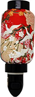 Red Crane Sakura Oriental Japanese Washi Night Light Lamp Candle Home Decor Birthday Housewarming Congratulatory Blessing Gift US Seller (Cranes Sakura (Red) -TC60)