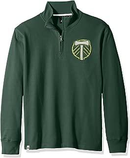 adidas Adult Men MLS Crest Lifestyle 1/4 Zip, Dark Green, Large