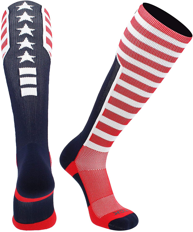 TCK Elite USA Flag Patriot Red White Blue Basketball Football Knee High Socks : Clothing, Shoes & Jewelry