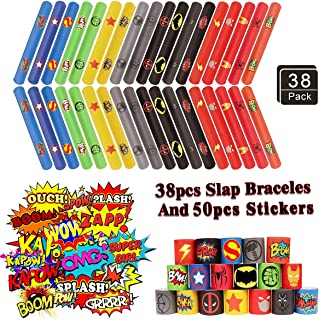 38PCS Superhero Slap Braceles - The Avengers Slap Bracelet for Kids Boys & Girls Birthday Party Supplies Favors - Cartoon Superhero Party Stickers(50 Pack) Carnival Prizes