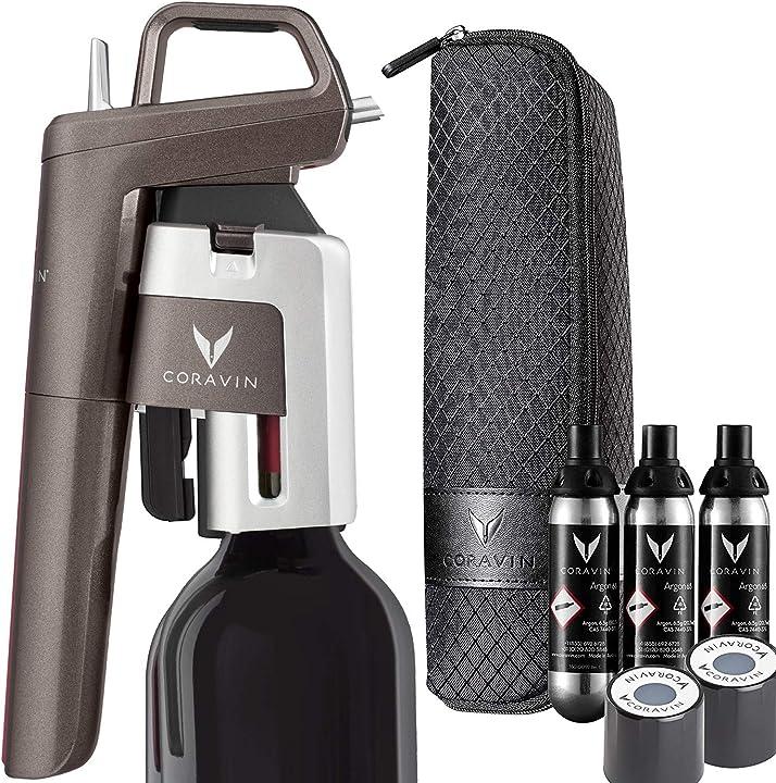 Sistema avanzato per l'apertura e la conservazione del vino in bottiglia coravin model six 112278