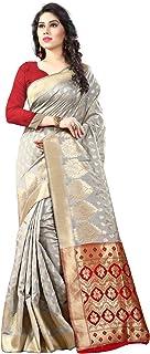 Shree Sanskruti Art Silk with Blouse Piece Saree (Sathiya Banarasi 6 Grey Red FS)
