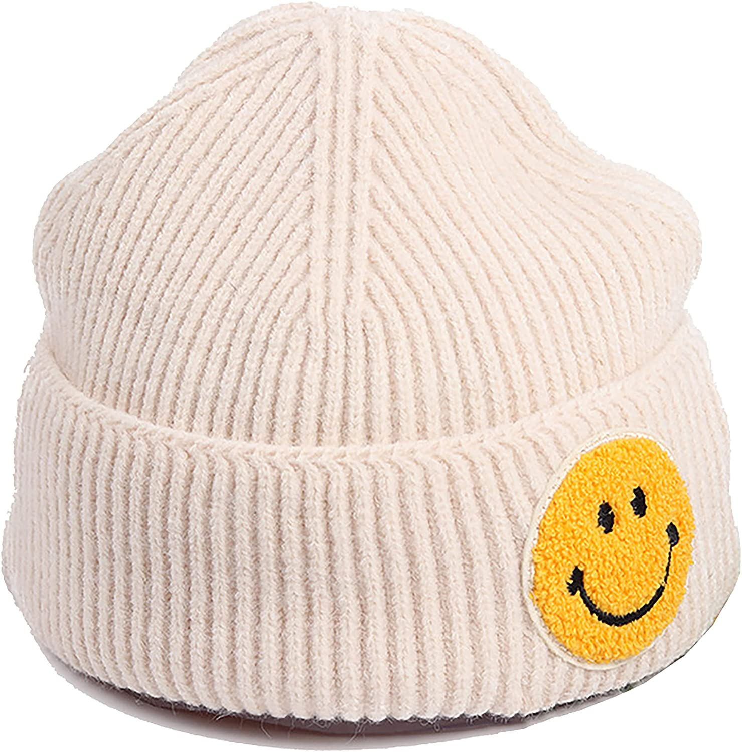 REENLOON Smiley Face Beanie Hat for Women Girls Cool Beanies with Designs Embroidery Winter Warm Cuffed Knit Cap