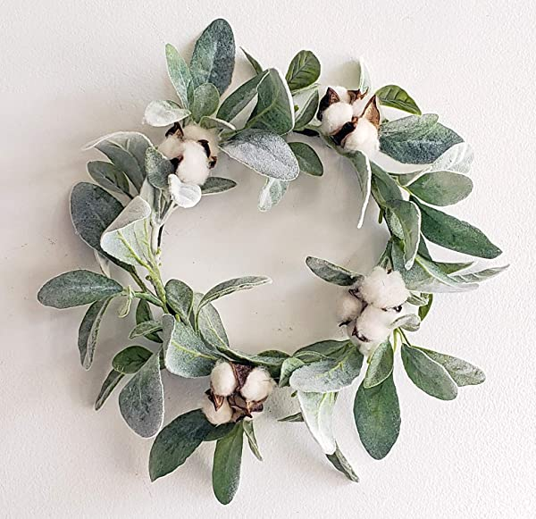 ESE Home Farmhouse Handmade Wreath Lambs Ear Cotton Wreath 12 6 Candle Ring