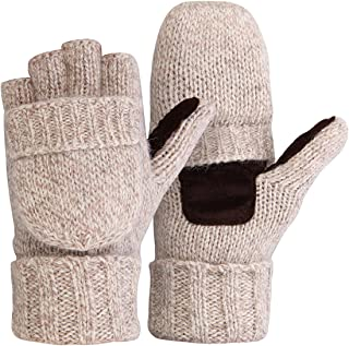Thermal Insulation Fingerless Texting Gloves Unisex Winter Warm Knitted Convertible Mittens Flap Cover