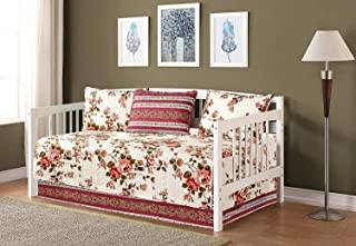 Linen Plus 5pc Daybed Cover Set Reversible Quilted Bedspread Floral Patchwork Pink Beige New