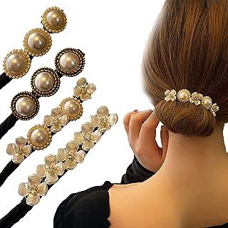 2021 New Anti-slip Lazy Flower Hairpin,Elegant Meatball Head Hair Device Lazy Half Ball Hairpin,Vintage Pearl Hair Clips f...