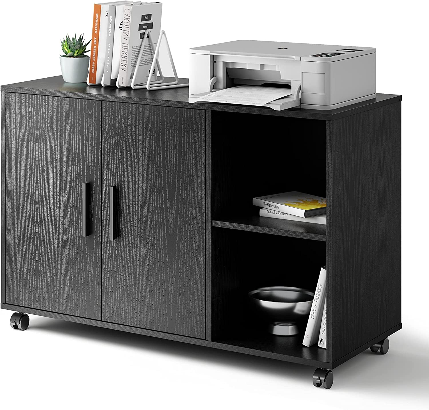 DEVAISE Rolling File Cabinet, Wood Storage Cabinet with Dual Doors, Large Printer Stand on Lockable Wheels for Home Office, Black