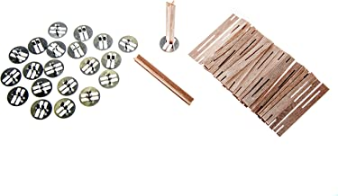 ValesaVales DIY 20 Pack Set of 80 mm / 3.1 inch Cross Wooden Core Wax Wicks Complete with Metal Base Anchor Holders for Ha...