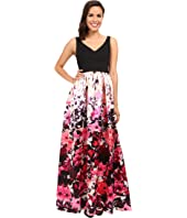 Adrianna Papell - Deep-V Printed Floral Mikado Dress