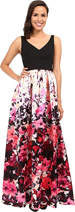 Deep-V Printed Floral Mikado Dress