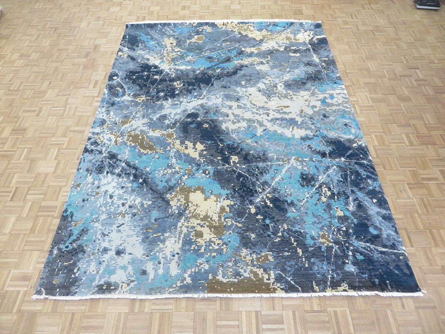 9 x 12'2 Hand Knotted Easy-to-use Blue R Wool Max 76% OFF Silk Absract Oriental Modern