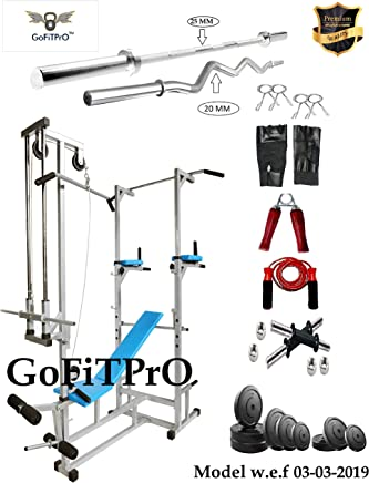 GoFiTPrO ABS Tower (Silver Colour) with 20 in 1 Bench+ 56 KG Rubber Weight +5 FT Plain Rod (25 mm) and 3 FT CURL Rod (20 mm)