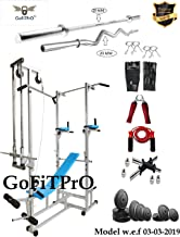 GoFiTPrO ABS Tower with 20 in 1 Bench, 20kg Rubber Weight, 5-ft 25mm/3-ft 20mm Curl Rod (Silver)