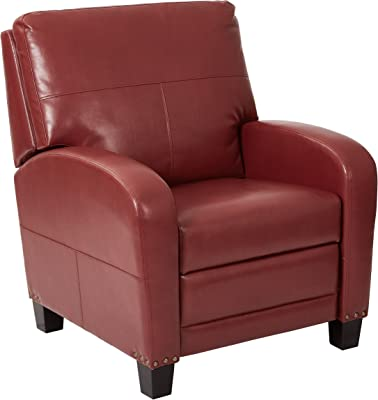 INSPIRED by Bassett Wellington Bonded Leather Recliner with Antique Bronze Nailhead Accents, Merlot