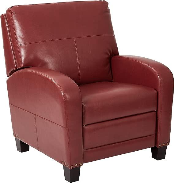 灵感来自巴塞特 · 惠灵顿粘合皮革躺椅,配有古铜色钉头装饰梅洛