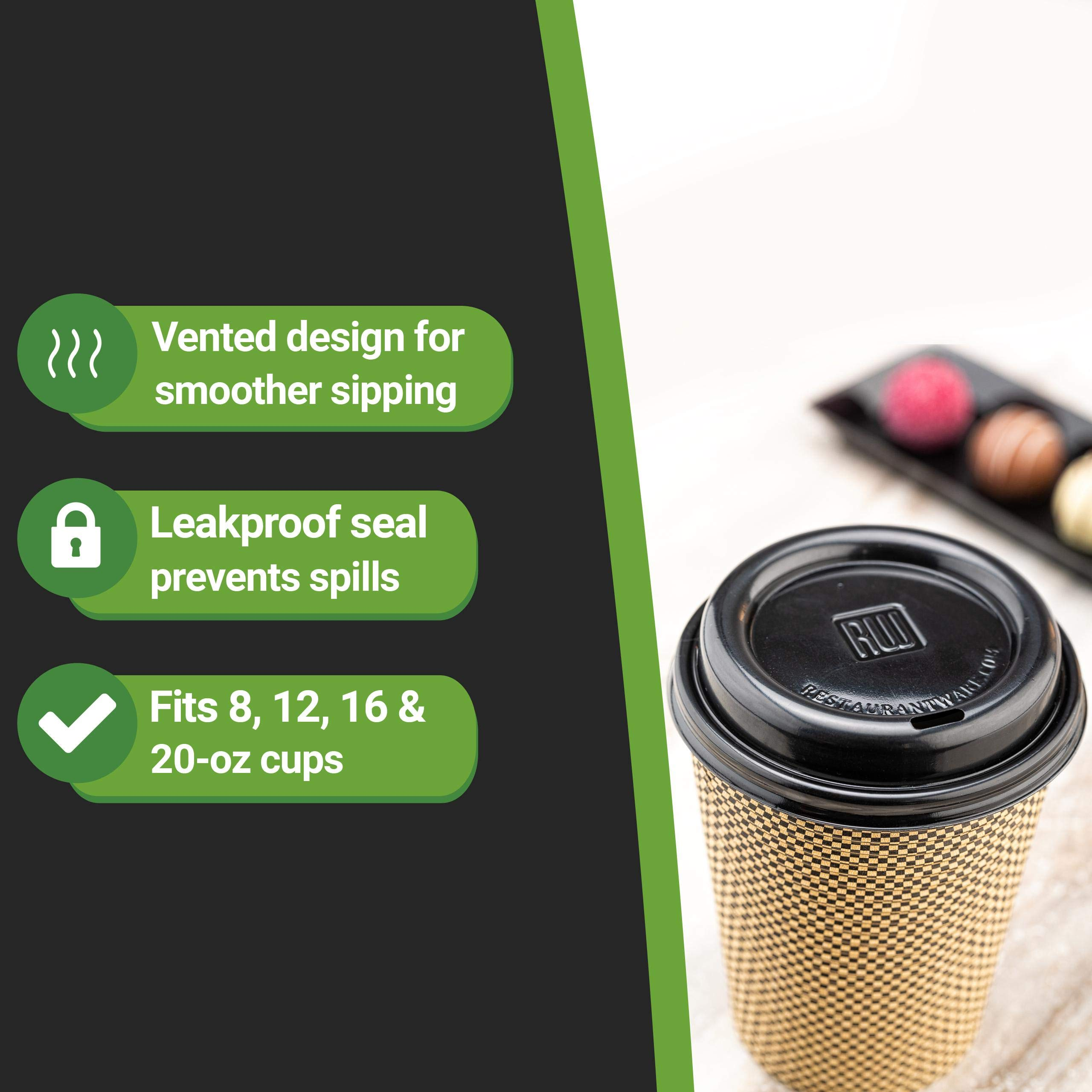 Restpresso Black Plastic Coffee Cup Lid Fits 8, 12, 16 and 20 oz 500 count box Restaurantware