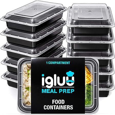 Igluu Meal Prep - [Lot de 10] Boîtes alimentaires rectangulaires pour préparation des repas - Réutilisables, sans BPA - Compatibles Micro-ondes, lave-vaisselle et congélateur