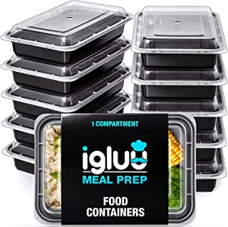 Igluu Meal Prep Containers [10 pack] 1 Compartment with Airtight Lids - Plastic Food Storage Bento Box - BPA Free - Reusable Lunch Boxes - Microwavable, Freezer and Dishwasher Safe - Bonus eBook