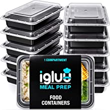 Igluu Meal Prep Containers [10 pack] 1 Compartment with Airtight Lids - Plastic Food Storage Bento Box - BPA Free - Reusab...