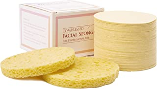Facial Sponges,Compressed Cellulose Natural Sponge for Face Cleansing,Facial Exfoliating(50 count)