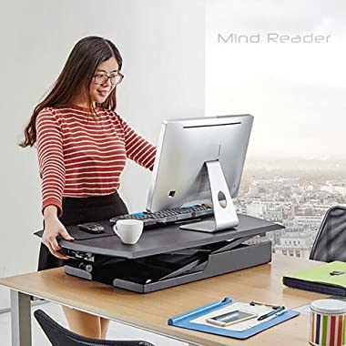 Mind Reader Multipurpose Home Office Computer Desk, Sit and Stand Desk, Workstation Desk, Gaming Desk