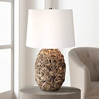 Nantucket Tropical Table Lamp Natural Seagrass White Drum Shade for Living Room Family Bedroom Bedside Nightstand Office - 360 Lighting