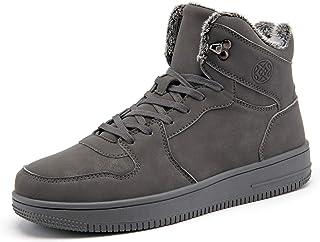 Gaatpot Homme Chaussures Bottes d'hiver Femme Bottines Mode de Neige en Cuir Boots à Lacets avec Doublure Chaud Fourrure 3...