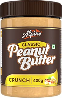 Alpino Classic Peanut Butter Crunch 400 G | Made with Roasted Peanuts | 25% Protein | Non GMO | Gluten Free | Vegan