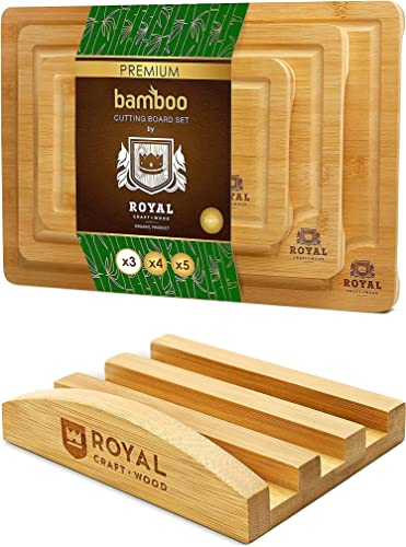 high quality Bamboo Cutting Board wholesale Set with Juice Groove sale (3 Pieces) and Cutting Board Organizer online sale