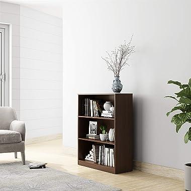 Amazon Brand - Solimo Tucana Engineered Wood Mini 3 Tier Bookcase (Walnut Finish)