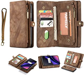 Simicoo OnePlus 6T Leather Wallet Zipper Purse Detachable Card Slots Holder Flip Case Magnetic Handle Shockproof Cover Pocket Wallet Handbag for OnePlus 6T 1+6T (Brown, OnePlus 6T)