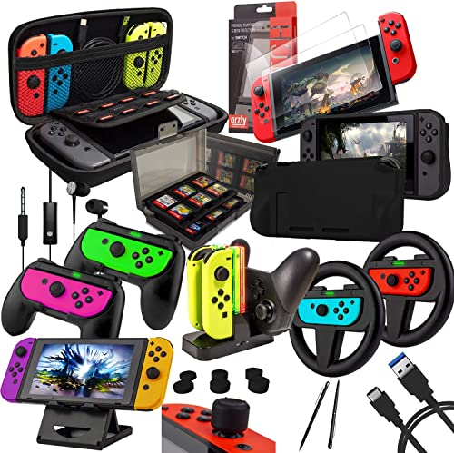 Switch Accessories Bundle - Orzly Geek Pack for Nintendo Switch: Case & Screen Protector, Joycon Grips & Racing Wheel...