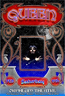 Queen, Orpheum Theatre, Boston Concert Poster by the original Psychedelic Era Grande Ballroom Rock Poster artist Carl Lundgren, Ready for Display, Bagged and Boarded, Printed in Detroit, Michigan