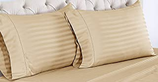 ISABELLA CROMWELL 500 Thread Count Cotton Pillowcases - 100% Pima Cotton Pure Sateen Weave Long Staple Ultra Soft Set of 2 Pillowcases, Solids and Stripes (King Pillow Case, Oatmeal (Damask Stripe))