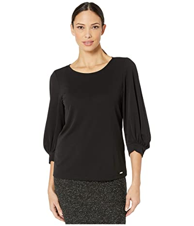 Calvin Klein Balloon Sleeve Detail Top (Black) Women