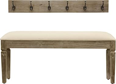 Décor Therapy Waverly Wood Bench with Coat Rack Set, Measures 42x11.8x17.75, Winter White