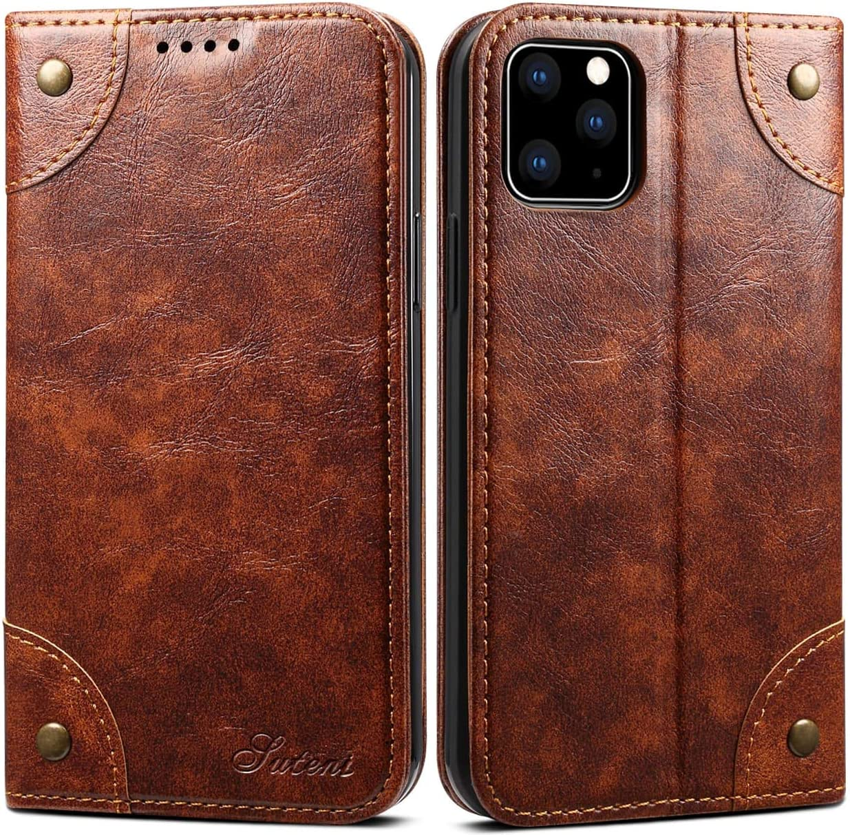 iPhone 11 Leather Case, SINIANL iPhone 11 Wallet Folio Case Book Design Magnetic Closure with Stand and ID Holder Credit Card Slots for Apple iPhone 11 6.1 inch 2019 Khaki