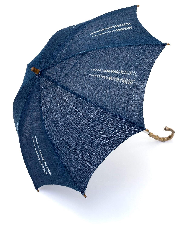 (ソウビエン) 日傘 藍 縞 藍染 引染 麻 便利小物 日本製