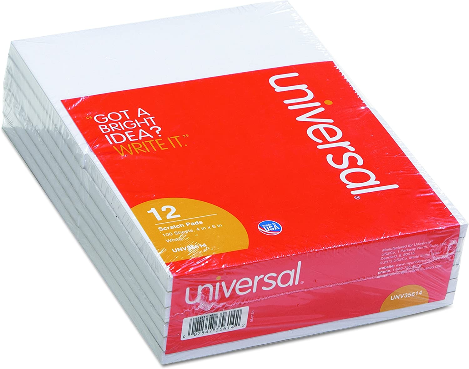 Ranking TOP13 Universal Scratch Pads UNV35614 - Los Angeles Mall 12 per pad sheets 100 ct