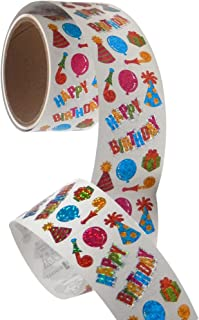Bulk Roll Prismatic Stickers, Happy Birthday Assortment (50 Repeats)