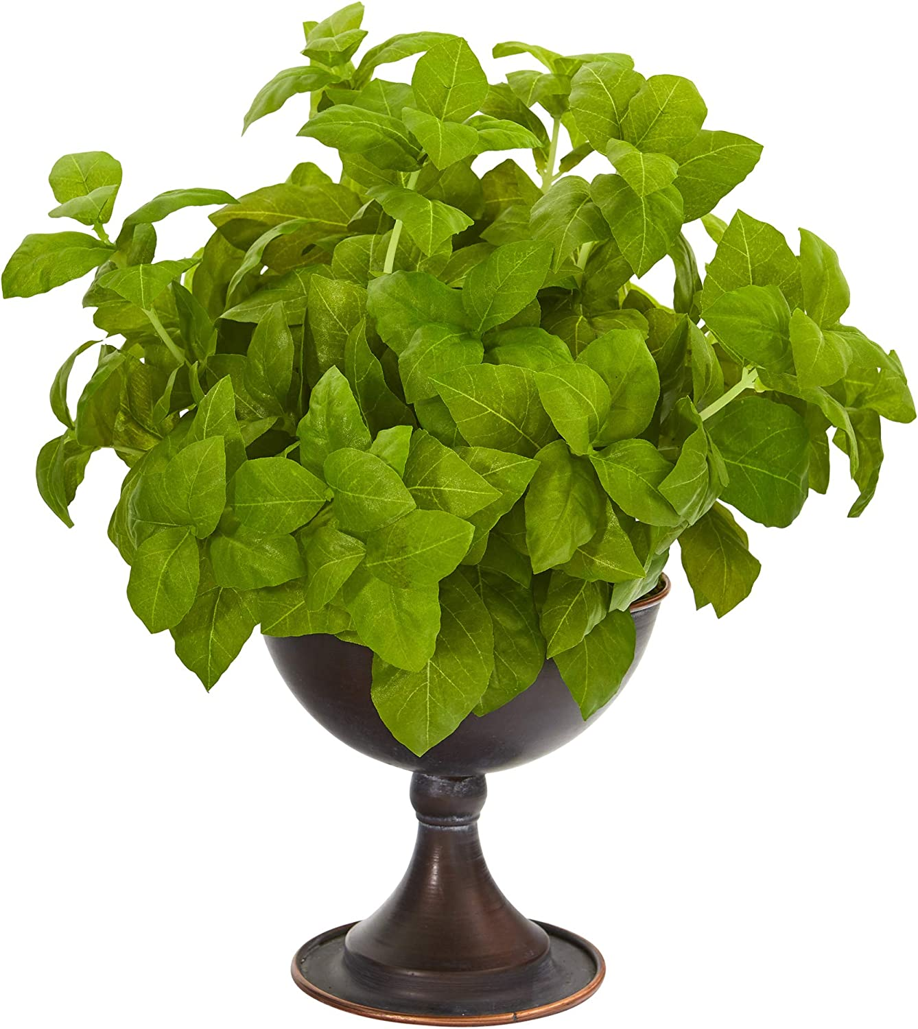 Nearly Natural 13in. Basil Artificial Silk Metal Plants Chalice 5% OFF service