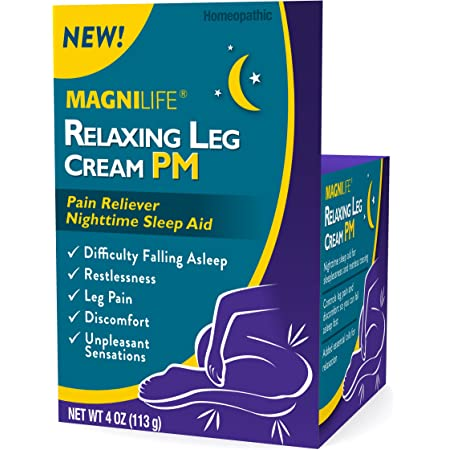 MagniLife Relaxing Leg Cream PM, Deep Penetrating Topical for Pain and Restless Leg Syndrome Relief, Naturally Soothe Cramping, Discomfort, and Tossing with Lavender and Magnesium - 4oz