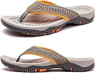 Hommes Tongs Plage Grande Taille Sandales Pantoufles Arch Support Sport Tong Sandales Antidérapant en Plein Air Pantoufles...