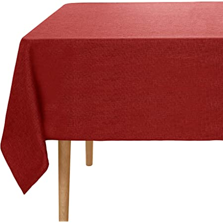 Amazon Brand - Umi Nappe Rectangulaire Effet Lin Impermeable 140x240cm Rouge