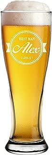 Custom Engraved Pilsner Glass - Personalized Groomsmen Beer Mug Glasses Gifts (Baseball Style - 16 oz)